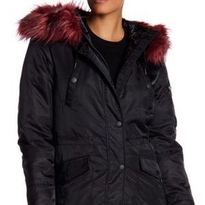 NWT [BCBG] Flight Anorak Jacket Faux Fur Trim -S